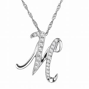 10pcs lot fashion simple crystal letter m pendant necklace With letter m pendant necklace