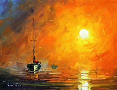 Bateau Mouche Montréal Souper by Yellow Fog 1 Original Oil Painting On Canvas By Leonid