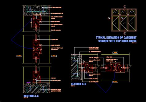 aluminium frame casement window  autocad cad  kb