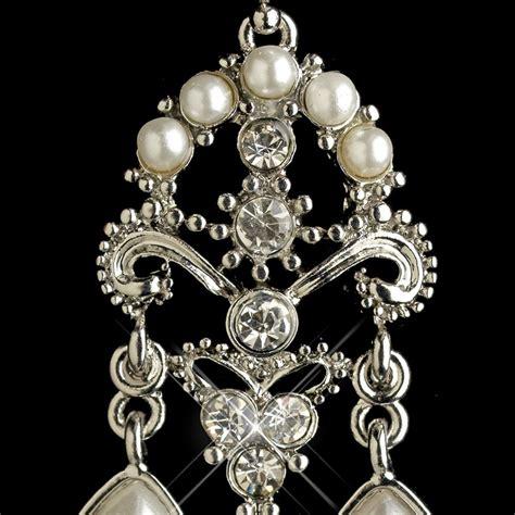 rhodium white pearl rhinestone chandelier earrings 1221