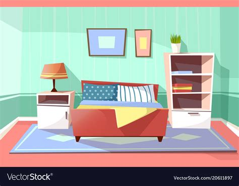 Cartoon Bedroom Interior Background Royalty Free Vector