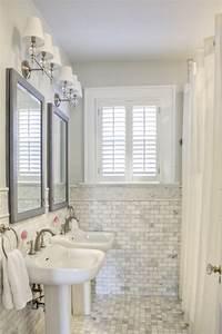 Carrara Marble Subway Tile - Traditional - bathroom