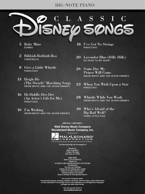 classic disney songs sheet by various hal leonard prima