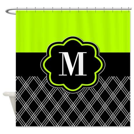 lime green black monogram shower curtain by