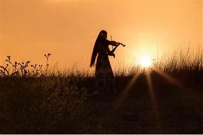 Mood Silhouette Violin Woman Sunset Field Dziewczyna