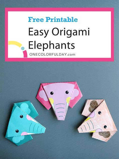 printable easy origami elephant onecolorfulday