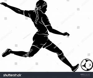 Woman Playing Soccer Silhouette Stock Vector Illustration ...