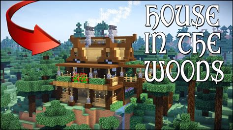 minecraft house   woods     wooden mansion survival cliff house tutorial