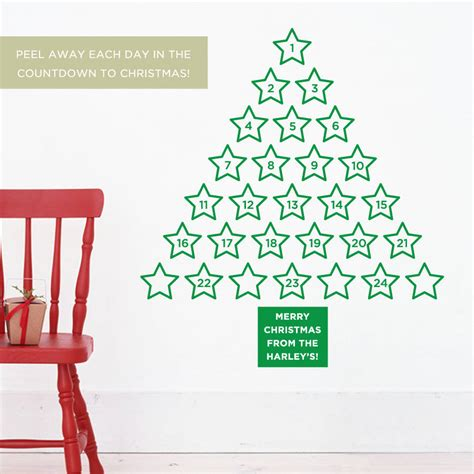 personalised christmas advent calendar wall sticker by