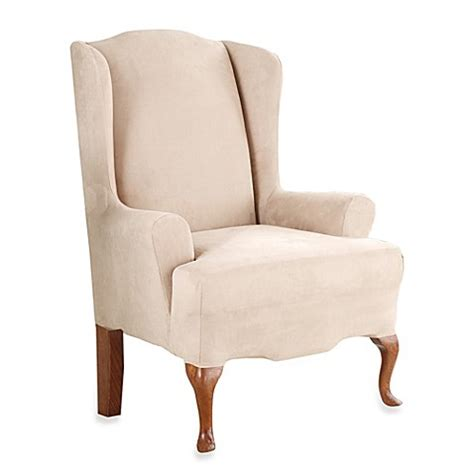 slipcover for wingback chair sure fit stretch suede wingback chair slipcover bed