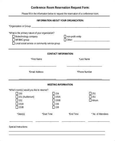 free reservation form