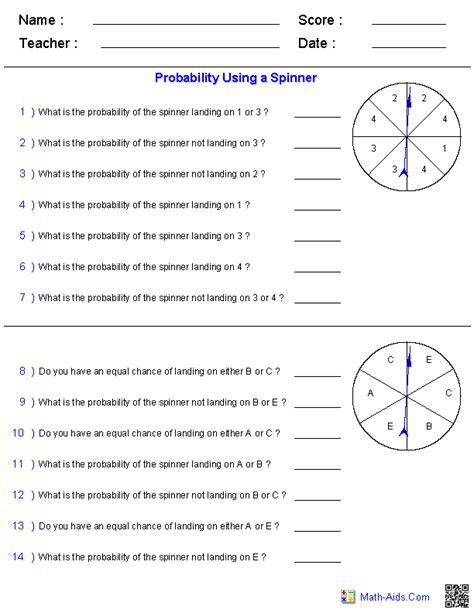 probability worksheets  images probability math
