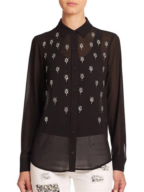 michael kors blouse michael michael kors sleeve embellished blouse in