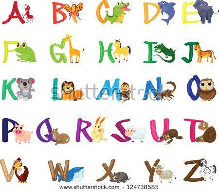 cute colorful children zoo az alphabet stock vector