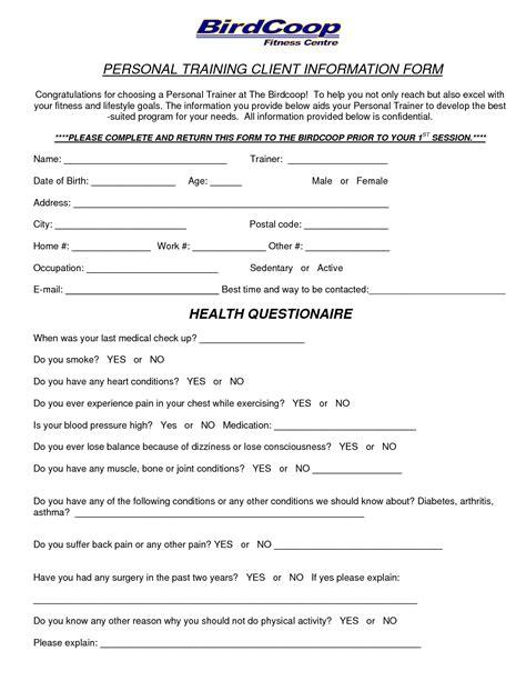 personal trainer forms personal trainer forms free printable documents