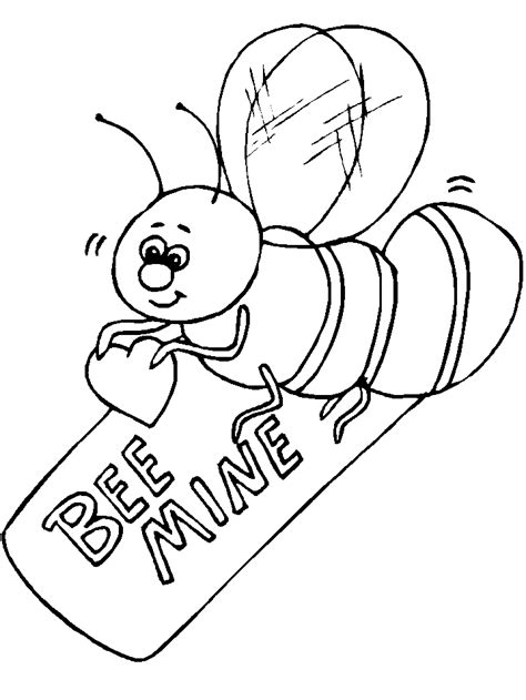animals coloring pages congratulated  valentine bee