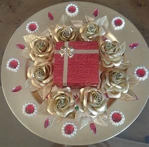 Decorative gold tone tray to hold wedding rings Raji
