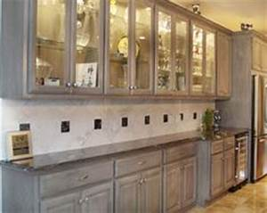 gray stained washed hickory cabinets house pinterest With kitchen cabinets lowes with winston churchill wall art