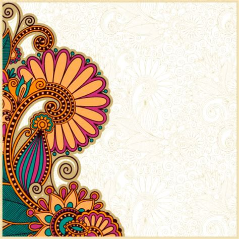 colorful paisley pattern  gold indian wedding invitation