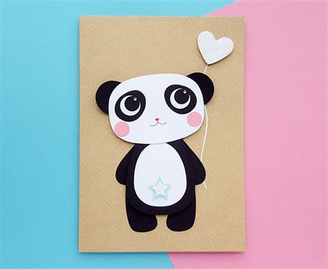 Make an easy diy birthday card with just a few pieces of paper. Personalised Cute Panda Birthday Card Handmade   KIO Cards