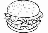Burger Coloring Hamburger Drawing Printable Cheeseburger sketch template