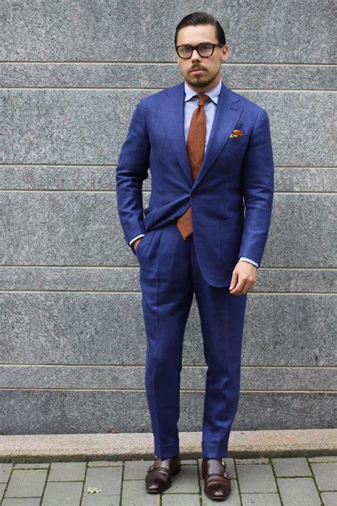 light navy blue suit blue suit light blue shirt and brown calf leather shoes