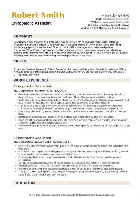 Resume For Chiropractic Assistant by Chiropractic Assistant Resume Sles Qwikresume
