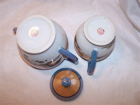 lusterware creamer sugar bowl hand painted japan