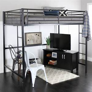 Full Size Metal Loft Bed With Desk Bed Headboards