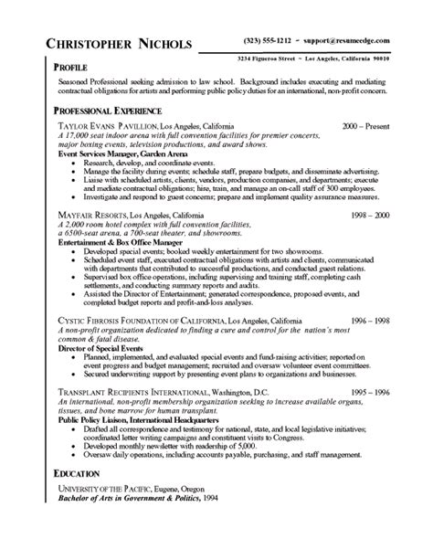 How To Write A School Resume by School Admissions Resume Free Sle Resumes