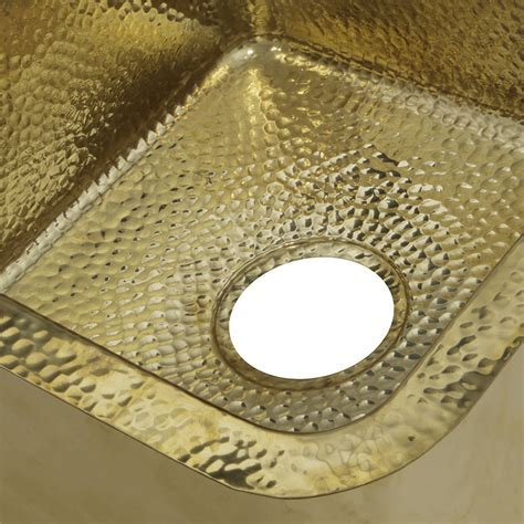 SQRB 7 16.625 Inch Hammered Brass Square Undermount Bar Sink