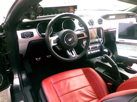 red  leather interior  mustang