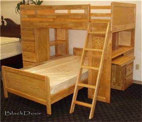 solid hardwood twin bunk bed loft wbuilt  bookcase
