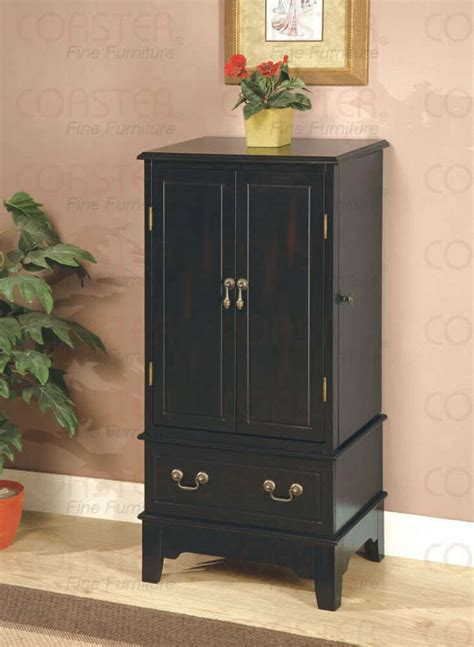 black finish jewelry armoire lingerie chest  coaster