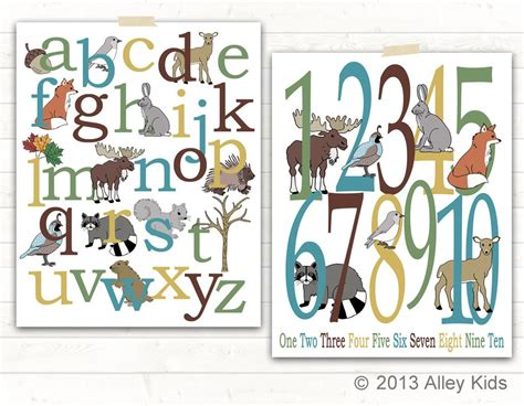 woodland animals alphabet  number poster set alley