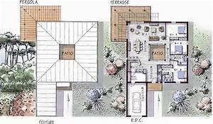 maison ossature bois de plain pied 146 m2 3 chambres With plan maison avec patio