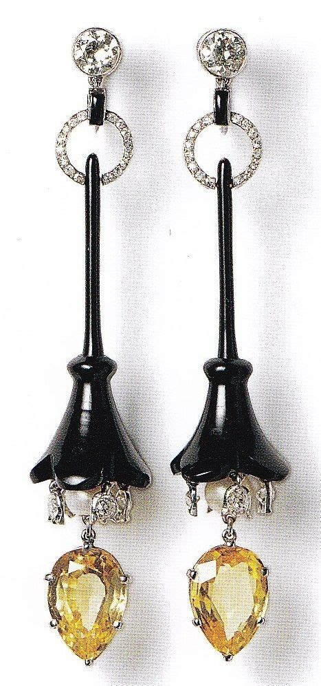 a pair of deco pendant earrings cartier for cartier new york circa 1919 onyx
