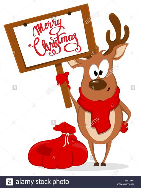 merry christmas greeting card with funny reindeer standing near bag stock vector art