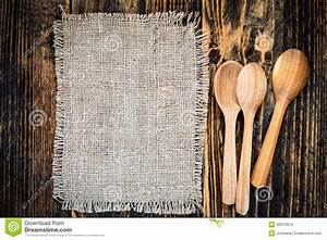 Burlap And Rural Kitchen Utensils On Wooden Table View