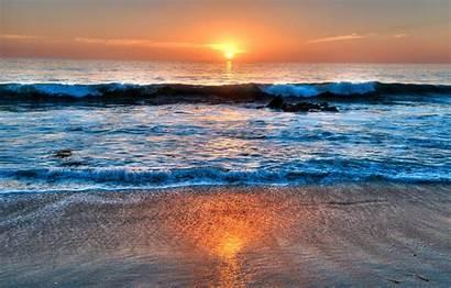 Beach Laguna California Sunset Wave Clouds Sea