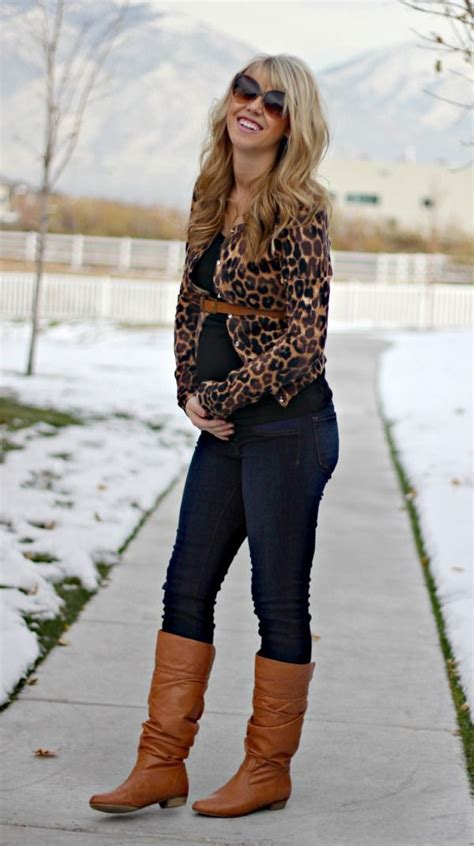 opt   brown animal cardigan  navy skinny jeans