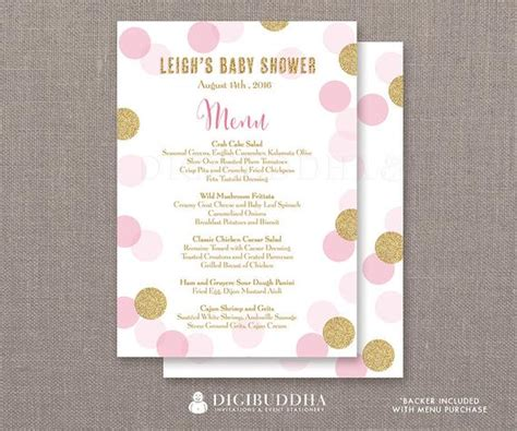 Baby Shower Menus Pink Gold Glitter Dots Menu Baby Shower Menu It S