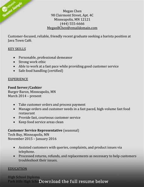 Barista Description Resume by Barista Description Resume Nguonhangthoitrang Net