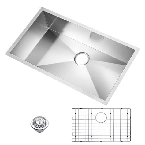 kitchen sink grid stainless steel water creation undermount stainless steel 33 in single 8495