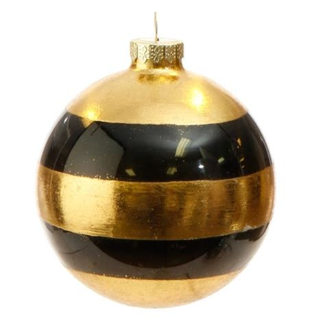 new raz 4 quot black gold striped or polka dot glass ball