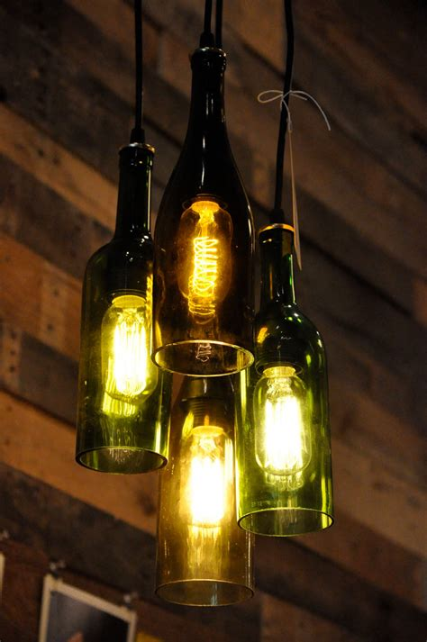 4 light chandelier recycled wine bottle pendant by