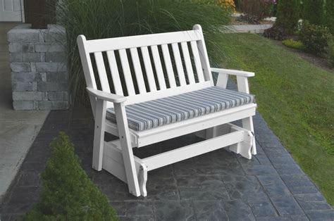 poly  foot traditional english glider bench bright white