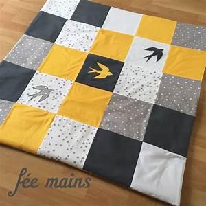 Parc D éveil : tapis de parc d 39 veil de jeu en patchwork jaune blanc gris avec hirondelle sur commande ~ Teatrodelosmanantiales.com Idées de Décoration
