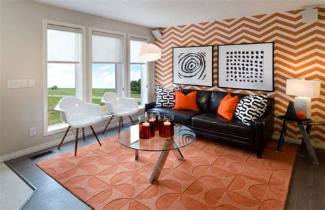 Bedroom Burnt Orange Wallpaper by Fall Into Orange Living Room Accents For All Styles