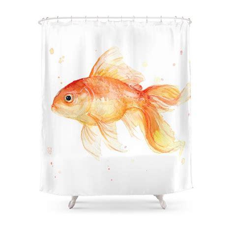 Goldfish Shower Curtain - goldfish watercolor fish shower curtain customized size in